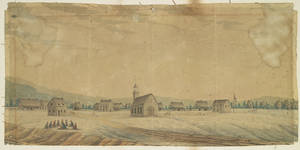 View of a Mohawk village circa 1805. Credit: Library and Archives Canada,  Acc. No. 1990-113-1