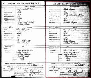 Record of marriage for Mary Ann Nelson and Charles Langlois, from the Massey Catholic Register, 1908-1919, page 5