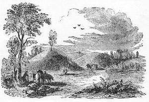Burial Mound. Image reproduced from The Prehistoric World or Vanished Races by E. A. Allen, 1885, via Project Gutenberg.