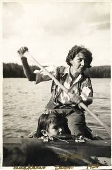 Anahareo and Dawn on Lake Ajawaan, Saskatchewan, 1936. Courtesy of Margaret Charko.